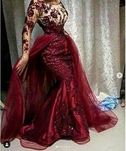 Бургундия секвенированные цветочные кружевные вечерние платья русалки с съемным поездом скромные полные рукава выпускные платья мусульманского формального вечеринка