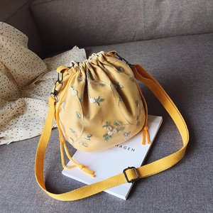 New fashion bucket bag large capacity Korean version of simple one-shoulder messenger bag with drawstring ladies leather