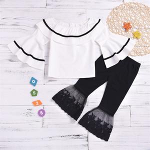 Niños Niñas Convulsor Trajes Muñeca Collar Empalme Tops Flare Sleeve Shirts Infant Baby Girls Casual Ropa de encaje Pantalones Elásticos 2-6T 402 K2