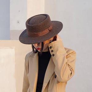 Chapeau de haut de laine de café brun français pour hommes et femmes Automne et hiver Britannique Britannique chapeau de femme chapeau élégante