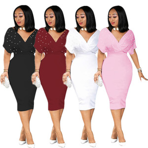 summer women's plus size dresses loose bat short sleeve pearl dress sexy deep v neck elegant dress party wholesale drop shipping F1202