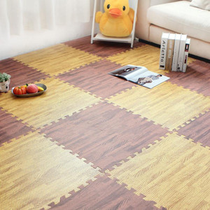 4 6 9 Pcs Waterproof PVC Carpets 30cm Square Puzzle Living Room Reduce Mats Grain Rug Wood Noise Floor Pattern Non-slip Bedroom