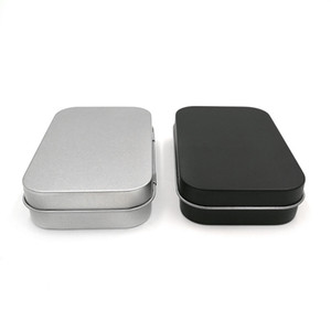 Small Rectangle Tin Boxes Flip Cover Iron 95x60x21mm Black Silvery Color Cases Mint Cigarette Gift Packing Caskets Durable New 1 5jsa G2
