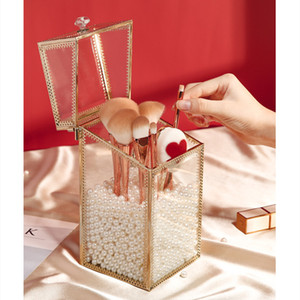 Glass Cosmetic Organizer Makeup Brush Holder Gold Storage Box Retro Eyebrow Pencils Container Jewelry Bead Box with Cover Z1123