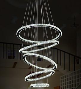 Luminária nórdica luminária luminária moderna diamante de luxo k9 anéis de cristal pendurado lâmpada 5 círculo cromo candelabros iluminação interna