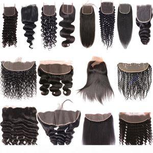 9 A Estensioni dei capelli umani vergini brasiliani onda del corpo dritto Wave Acqua profonda Wave Acqua A Kinky Curly Pizzo Frontale Chiusura frontale Ear to Ear Frontal Chiusure