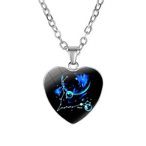 Zodiac Sign Heart Pendant Necklace 12 Constellation Necklaces for Women Fashion Jewelry Gift Will and Sandy Drop Ship