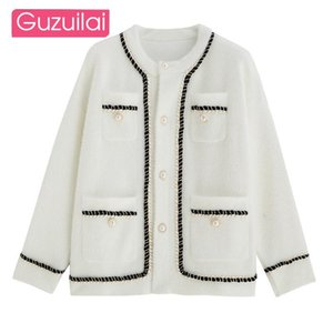 GUZUILAI Gentle temperament autumn and winter new women's mink fleece sweater coat fashion lazy style Korean knitted cardigan