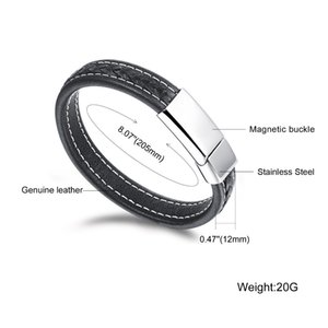 queen66 2020 Genuine Leather Watchband Man Bracelets Punk Style Stainless Steel Men Jewelry Rope Chain 20.5cm Accessories