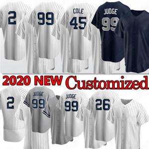 New York Yankees 99 Aaron Judge 2 Baseball Jersey Derek Jeter 45 Cole 26 DJ Lemahieu 25 Gleyber Torres Custom Jersey 2020 Uomini