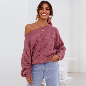 Slash Neck Sexy Sweaters Womens Hollow Pullover Long Sleeve Strapless Knits Solid Color Lantern Sleeve Women Tops