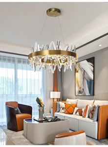 Modern gold crystal chandelier lighting for living room round led chandeliers bedroom dining room indoor lighting
