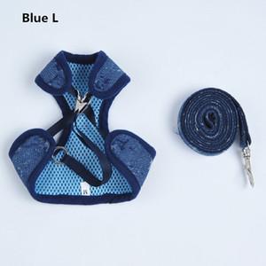 Джинсовые голубые ожерелье воротник ошейники собаки набор на открытом воздухе прочный Chai Keji собаки поводки высокого качества домашних животных 2 шт.