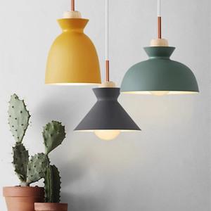 Modern Colorful Pendant Light Scandinavian LED Hanglamp Wood Aluminum Pendant Lamp Luminaire Bar Kitchen Fixture Nordic Lighting
