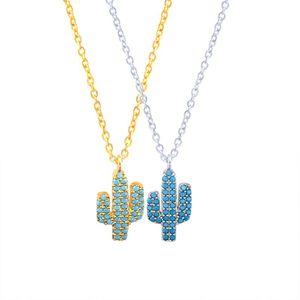 Collares colgantes azul zircon desierto cactus collar mujeres bff regalo joyería de verano de joyería de acero inoxidable Cadena de oro de color oro gargantilla