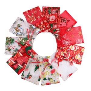 Christmas Jewelry Bags Mixed Organza Jewelry Wedding Party Xmas Gift Bags Packing Bags with Drawstring Wholesale