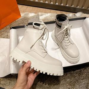 Горячая Продажа Rimocy заплатка Knit мода платформа ботильоны для женщин высокого качества Pu кожа коренастых сапог Женщины Узелок Повседневной обуви
