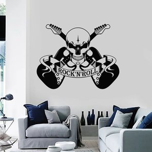 Cool Style Wall Decal Scary Skull Music Rock And Roll Electric Guitar Mural Teens Bedroom Music Studio Decor Vinyl Stickers