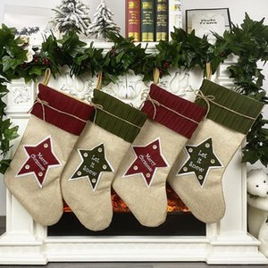 Exquisite Stocking Party Hanging Christmas Tree Ornament Decor Linen Hosiery Xmas Socks Kdis Gift Candy Bag DHC1636