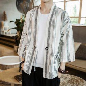 Nice Summer Stripe Patchwork Kimono Jacket Streetwear Windbreaker Ribbons Cardigan Cotton Linen Jacket Open Stitch Coat Male
