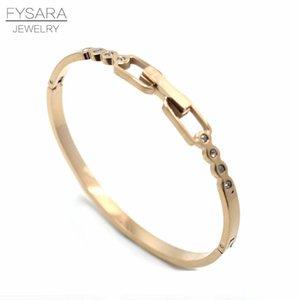 Fysara Female Love Buckle Bangles Ladies Stainless Steel European Jewelry Austrian Crystals Bangles For Women Wholesale New 2019 sqcAcf