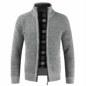 Negizber 2019 outono inverno novo masculino magro fita stand gola zipper algodão espesso