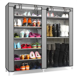 US Warehouse in store high quality Double Rows 9 Lattices Combination Style Shoe Cabinet Gray fast delivery