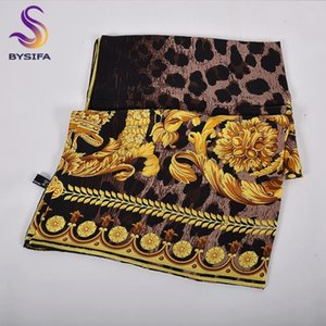 [BYSIFA] Black Gold Frauen 100% Seidenschal Neue Elegante Twill Square Schals Tücher Herbst Winter Luxus Damen Schal Foulard Femme