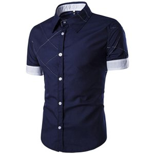 New Casual Shirts Men Dress Fashion Summer High Quality Short Sleeve Male Pure Color Grid Business Blouses