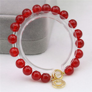 First Class Quality Round 8mm Ruby White Crystal Smiling Face Pendant Without Fading Women's BRACELET HANDMADE C-22