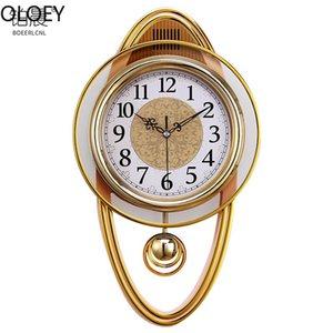 Gold Vintage Reloj de pared Lujo Reloj de Swing Reloj Mecanismo Mecanismo Sala Moderno Relojes Digitales Swingle Europa