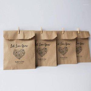 Borse da sposa involucro da regalo Lascia che l'amore coltiva i semi favoriscono la carta kraft Favori rustici Bomboniere San Valentino Favoro1