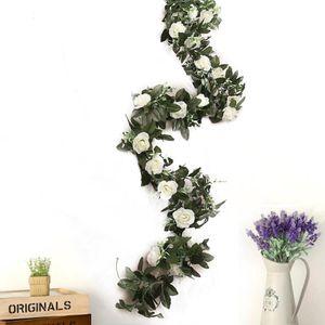 Artificial Rose Garland Silk Florals Fake Vine Ivy Wedding Party String Hang Rose Vine Fake Flower For Party Wedding