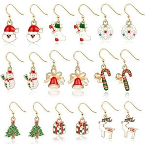 Boucles d'oreilles de Noël Cadeaux d'oreille de Noël Cadeaux Arbre de Noël Arbre de Noël Santa Claus Forme Boucle d'oreille Femmes Designer Bijoux Décoration de Noël DWC4081