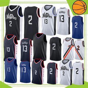 Los Angeles Clippers NCAA 2 Kawhi Leonard Men Maglie da basket 13 Paul George Maglie da basket cucite S-XXL In magazzino 2019 Nuovo Top