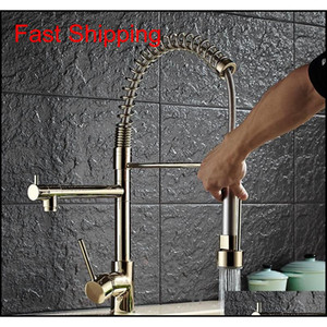 Wholesale- Luxury Gold Color New Kitchen Faucet Tap Two Swivel Spouts Extensible Spring Mixer Tap Gold Pull O qylWaA packing2010