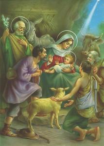 Catholic Picture Natividad Navidad Mary Baby Jesús Pastor Pastel de Decoración del Hogar Pintura al óleo sobre lienzo Fotos de Arte Grande 201120