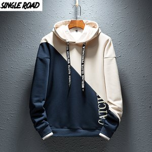 SingleRoad Mens Hoodies Homens 2020 Colorblock Casual retalhos Hoodie Man japonês Streetwear Hip Hop Khaki camisola do Hoodie Men Y1109
