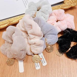 Boutique mode pelz frauen scrunchies herbst winter mädchen haar knurrchen frauen haarbänder haarschmuck für frauen haar bands