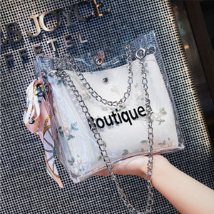 Women Clear Bag PVC Jelly Small Bucket Fashion Transparent Chain Shoulder Bags Ladies Messenger Casual Shopping Scarves Handbag