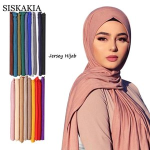 Jersey Hijab Scarf Women 60*170 cm Solid Plain Soft Comfortable Modal Cotton Muslim Islamic Ethnic Shawls Turban Headwraps 2021