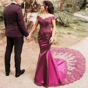 Fuchsia Mermaid Evening Dresses 2021 Arabic Dubai Lace Off The Shoulder Satin Prom Gowns Plus Size Gorgeous Formal Party Lady Dress