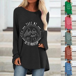 40 Women Fashion Casual Print O Neck Loose Long Sleeve Shirts Autumn Daily Brief Blouse Loose Elegant Graphic Pullover Top