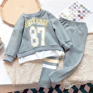 Gooporson Girls Otoño Traje Fashion Korean Cheature Trits Letra Impresa sudadera Sudadera Linda Linda niña Ropa Set Ropa para niños