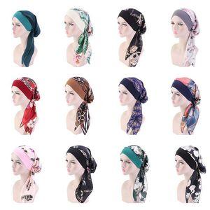 Fashion Printed Flowers Women Inner Cap Muslim Head Scarf Turban Bonnet Ready To Wear Ladies Wrap Under Caps