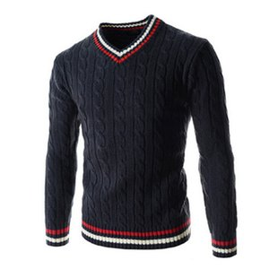 Mens Pullover Sweaters Fashion Trend Natural Color Casual V-Neck Long Sleeve Sweaters Designer Spring New Slim Knitting Sweaters for Mens