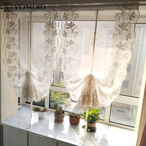 1PC Terry Embroidery Lace Roman Curtain Tulle Flower Pattern Embroidered Ribbon Curtain Tulle Living Room Kitchen Balcony Voile