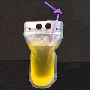 Transparente Getränke Beutel Klares Getränketasche Frosted Selbstversiegelte Milch Kaffeensaft Trinken Plastiktüten Kunststoff Tragbare DHF3990