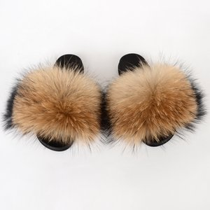 Big Fur Slides Women Furry Slippers House Summer Fluffy Home Shoes Plush Sandals Ladies Luxury Real Fur Flip Flops Big Size 2020