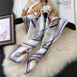 Lady Hair Band Silk Scarf Square Shawl Wraps Head Band Fashion Print Neckerchief Female Hijab Foulard Women Bandana Bag Scarves
